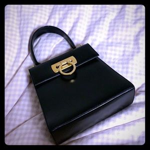 Ferragamo Vintage Gancini Black Leather Bag